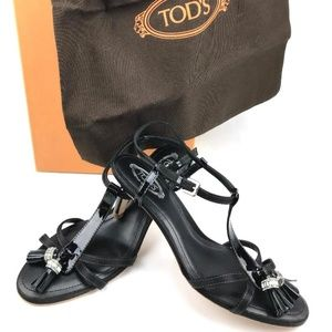 TOD'S Italian Black Patent Leather Sandal with Bag